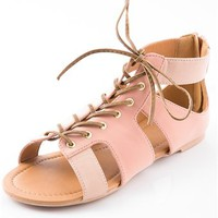 Fashion Fighter Flat Open Lace Two Tone Gladiator Sandal - Blush from Bohemian at Lucky 21 Lucky 21