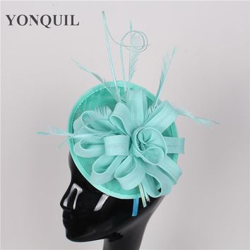 17 colors emerald green fashion hats and fascinators sinamay fascinators hats with feather women wedding hairbands occasion hats