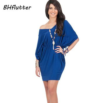 Women Casual Dress  Batwing Sleeve Summer Dress Elastic Waist Women's Brief V neck Party Dresses