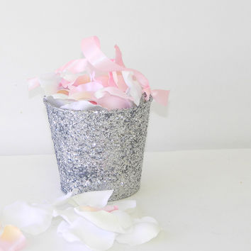 Silver Glitter Flower Girl Basket