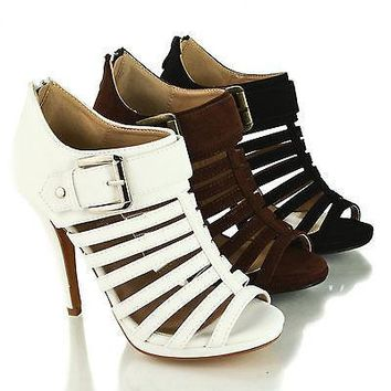 Lexie51 Brown By Delicacy, Peep Toe Caged Platform Stiletto Heel Bootie Sandals