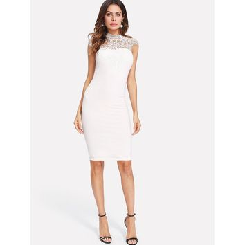 Lace Yoke Bow Tie Cutout Back Fitted Dress White