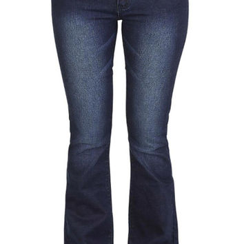 Faded Low-Waist Boot Cut Denim Jeans