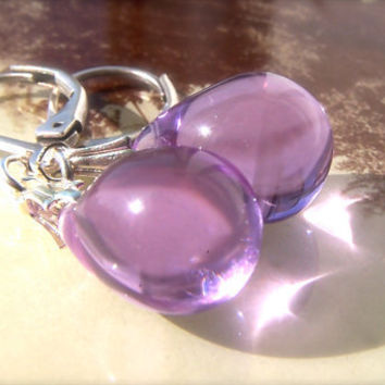 Purple Drop Earrings, Purple Teardrop Bead Earrings, Vintage Style Leverback Earrings, Dangle