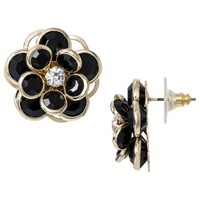 Stone Flower Earrings - Black