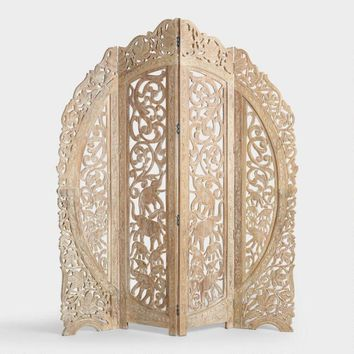 Whitewash Wood Carved Elephant Screen