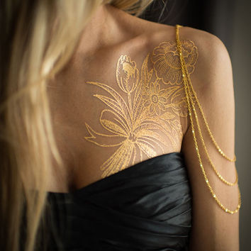 Gold Bouquet Flower Metallic Temporary Tattoo, Tattoo by Myra Oh