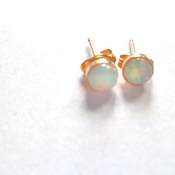 Tiny opal gold stud earrings 14k gold fill white Australian natural 4mm free shipping