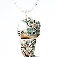 Hello Kitty Mermaid Tibetan Silver Charm on Silver Plated Necklace Jewelry
