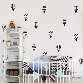 30pcs/set hot air balloon wall stickers for kids room girls bedroom baby nursery wall art decals adesivo de parede mural A690