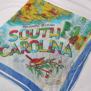 1950s Vintage South Carolina Souvenir Map Scarf, 29 x 30 Inches, State Capitol, Fox Hunting, Colleges, Universities, Vintage Scarf, Travel