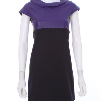 ALICE & OLIVA Purple and Black Two Tone Leather Top Short Dress Size XS