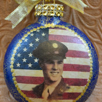 Military Ornament,Memorial Ornament,Christmas Ornament,Glass Ornament,Personalized Custom Ornament,Unique Christmas Gifts,Hand painted