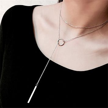 NEW Hollow Circle Long Silver Plated Choker Necklace