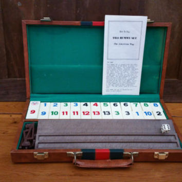 Vintage Travel Rummikub Game Set With Instructions in Faux Leather Case Great Vintage Game