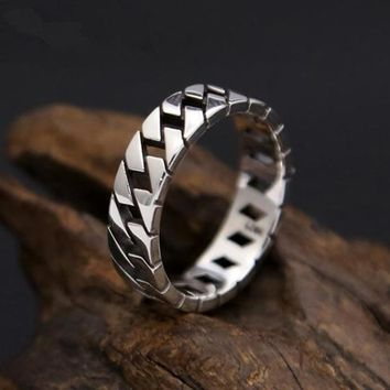 Silver Men's Ring Simple Chain Band