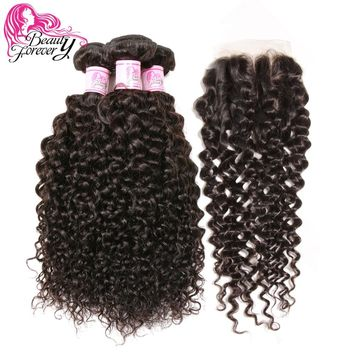 Beauty Forever Malaysian Curly Hair With Closure Three Part 100% Remy Human Hair Weave Bundles