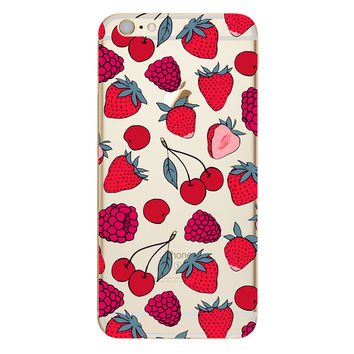Fruit Strawberry Berry Cherry TPU Soft Silicon Transparent Clear Back Case Cover for Apple iPhone 4 4s 5 5s 5c SE 6 6s 6 Plus 6s Plus 7 & 7 Plus