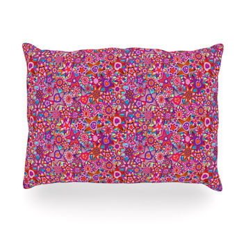 """Julia Grifol """"My Dreams in Color"""" Pink Stars Oblong Pillow"""