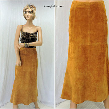 70s leather suede maxi skirt / size 7 / 8 / boho western festival brown long leather skirt / brown suede maxi skirt  SunnyBohoVintage