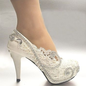 White Light Lvory Lace Bead Crystal Wedding Shoes Heel Pump 3Inch/8 cm