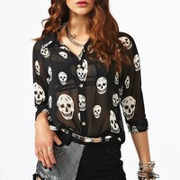 Skull Chiffon Blouse in What's New at Nasty Gal