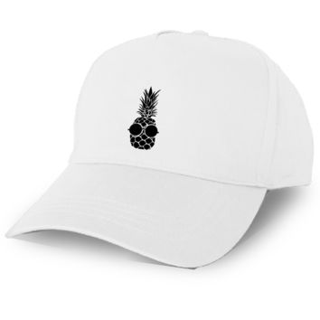 White Baseball Cap with Pineapple