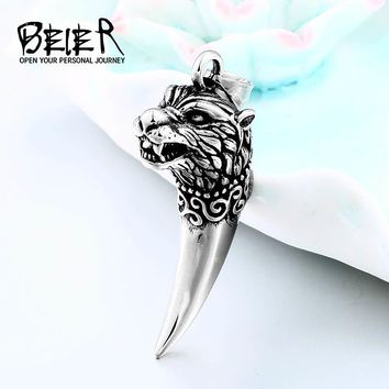 BEIER Antique Wolf Fang Tooth Pendant Necklace Vintage Wolf Tooth Dragon Fashion Choker Man Viking Jewelry Animal Gift BP8-380