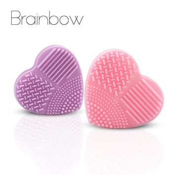 Brainbow 1pc Heart Shape Silicone Makeup Brush Cleaner Wash Brush Soft Glove Scrubber Board for Cosmetic Make Up Cleaning Tools