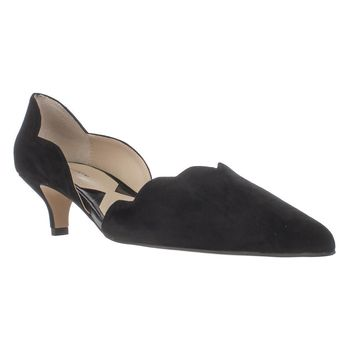 Adrienne Vittadini Serene Scallopped Kitten Pumps, Black, 5.5 US