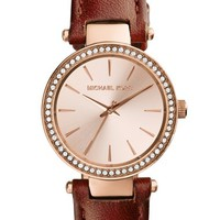Women's Michael Kors 'Petite Darci' Crystal Bezel Leather Strap Watch, 26mm - Brown/ Rose Gold