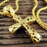 High Quality 18k Gold Plated Mens Cross Pendant Chain Necklace P18