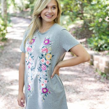 Floral Embroidered T-Shirt Dress, Grey