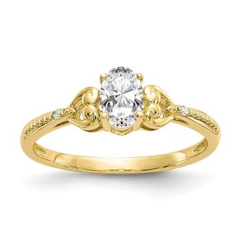 10k Yellow Gold Oval Genuine White Topaz Diamond Hearts Ring
