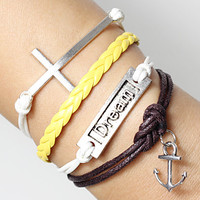 dream  bracelets for men and women -cross bracelets  anchor charm braclets,brown braided 8,yellow braided rope ajustable length