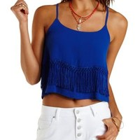 Blue Layered Fringe Crop Top by Charlotte Russe