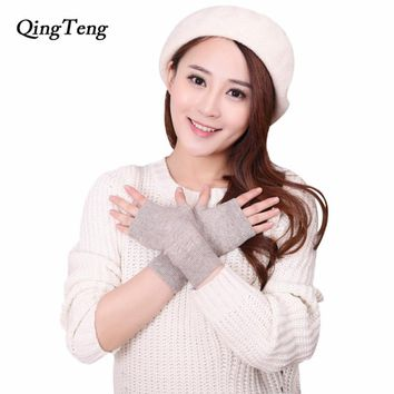 Women Fingerless thin cute wool gloves Winter Short Cashmere blend Gloves female half finger luvas feminina guantes