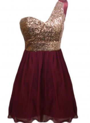 Wine Color One Shoulder Dress With Sequin From Ustrendy