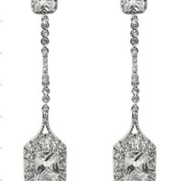 Marlana Radiant Cut Drop Long Dangle Earrings | Cubic Zirconia