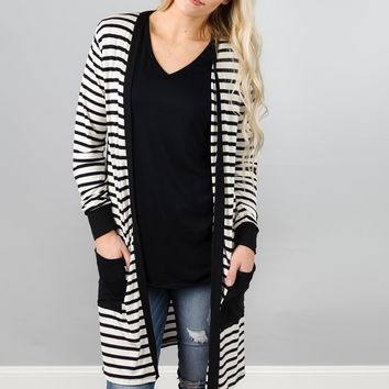 Striped Long Cardigan with Pockets