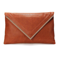Metal Bar Clutch Bag With Pointed Flap