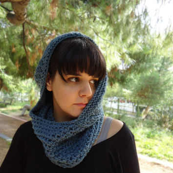 Hooded knit neckwarmer cowl, hood knit scarf, chunky hooded cowl, knit cowl, womens wool cowl, womens accessories, winter warm cowl