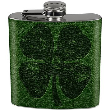 St Patrick's Distressed Shamrock on Faux Leather Full Wrap Steel Flask