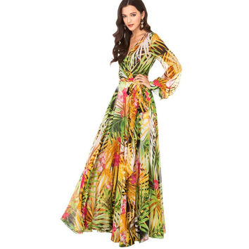 Rainforest Floral Print Bohemian Lantern Sleeve Chiffon Long Maxi Dress