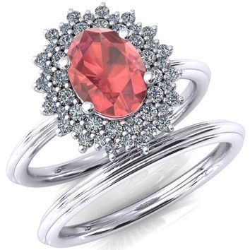 Eridanus Oval Padparadscha Sapphire Cluster Diamond Halo Wedding Ring