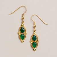 Gold and Green Onyx Drop Earrings - World Market