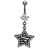 Star belly ring 14G navel ZEBRA stripe prong set Clear gem outline Black White