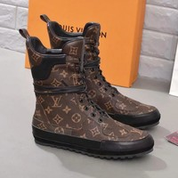 LV Louis Vuitton Newest Fashion Women Personality Leather Flat Boots Shoes