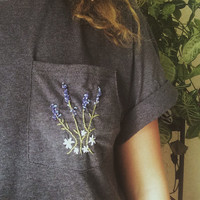 Embroidered Lavendar Bouquet Pocket T Shirt