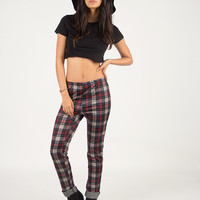 Plaid Stretchy Pants - Red - Red /